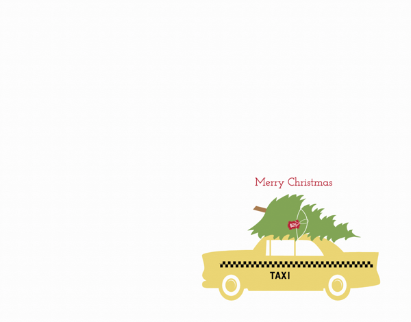 Taxi and Christmas Tree Holiday Card