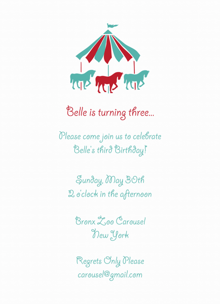 Carousel Birthday Invite