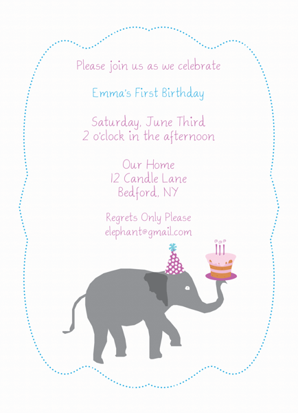 Elephant Cake Birthday Invitation
