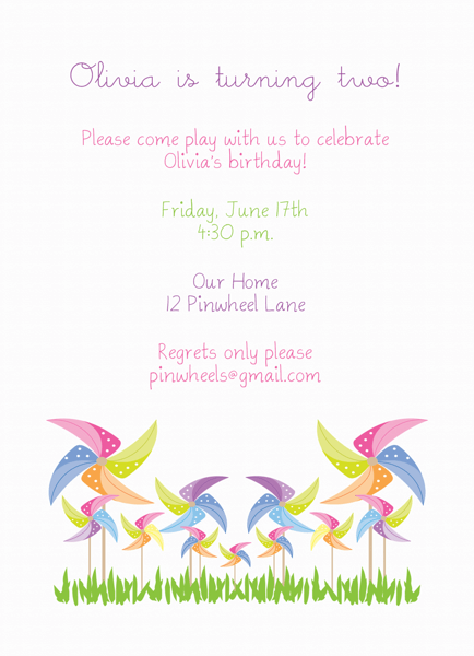 Girl's Pinwheel Birthday Invitation