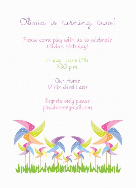 Girl's Pinwheel Birthday Invitation