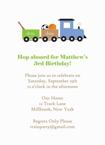 Train Birthday Invite