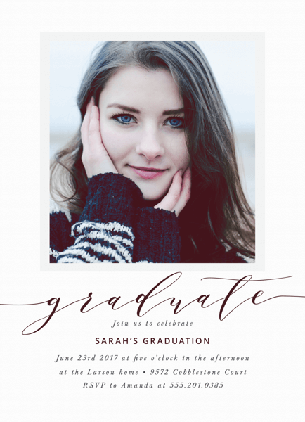 Modern Calligraphy Graduation Invite