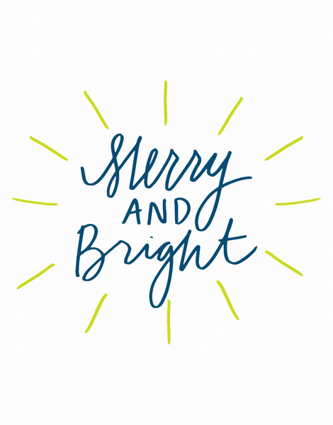 Script Merry and Bright Holiday Card
