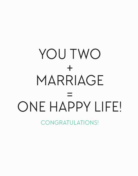 One Happy Life Wedding Congratulations Card