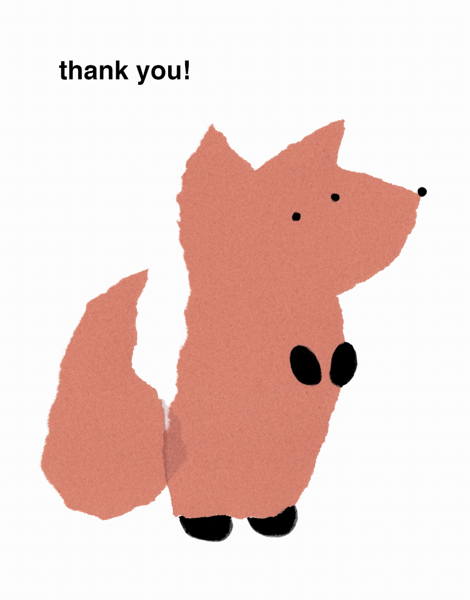 Paper Cutout Fox Thank You Card