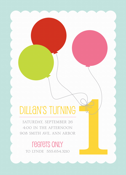 First Birthday Balloons Invitation
