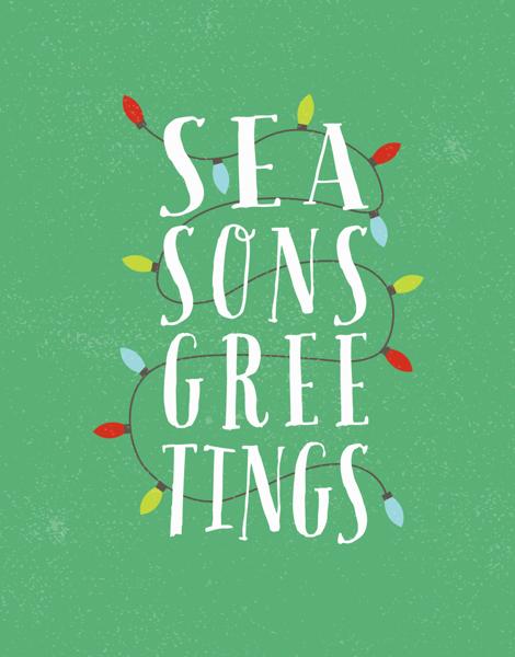 bright green holiday lights season's greetings card