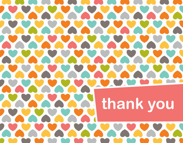 Heart Pattern Thank you card