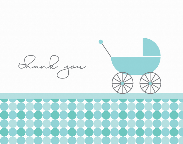 Blue Baby Carriage Thank You Card