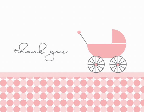 Pink Baby Carriage Thanks greeting
