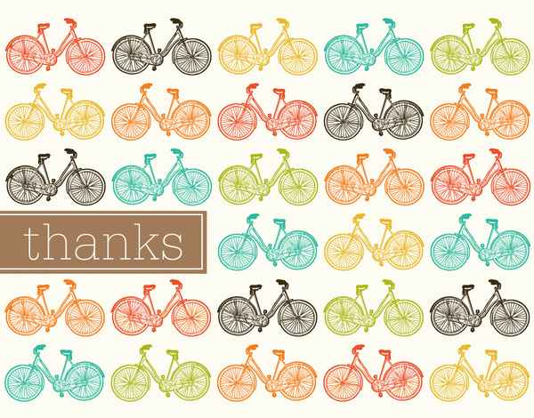 Multicolor Bicycle Thank You Card