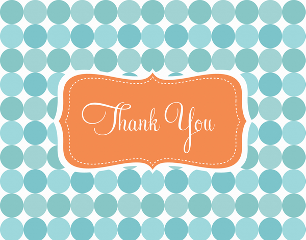 Retro Aqua Circles Thank You Card