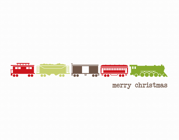 Charming Toy Train Christmas Card
