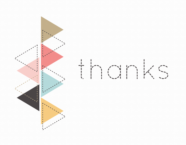 Dashed Triangle Thank You Card