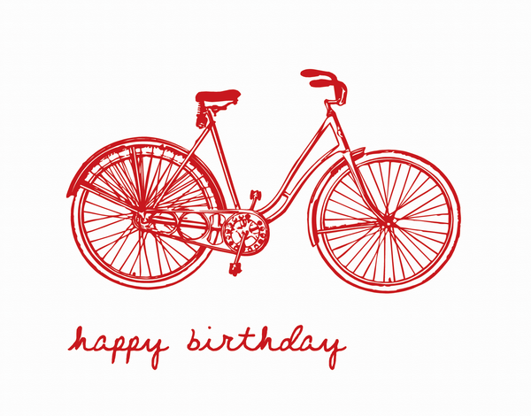 Red Bicycle Birthday Card