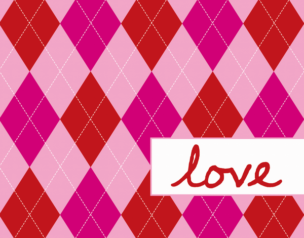 Pink Plaid Love Card