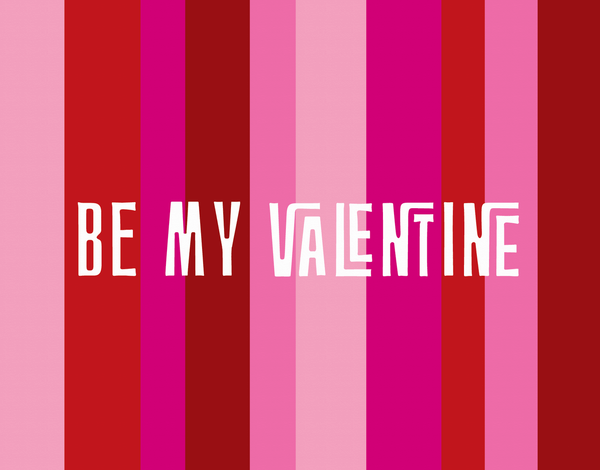 Retro Pink Stripes Valentine's Card