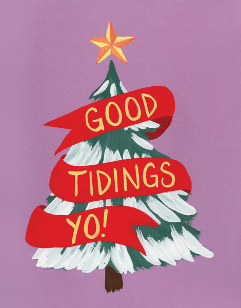 colorful christmas card with christmas tree and good tidings yo
