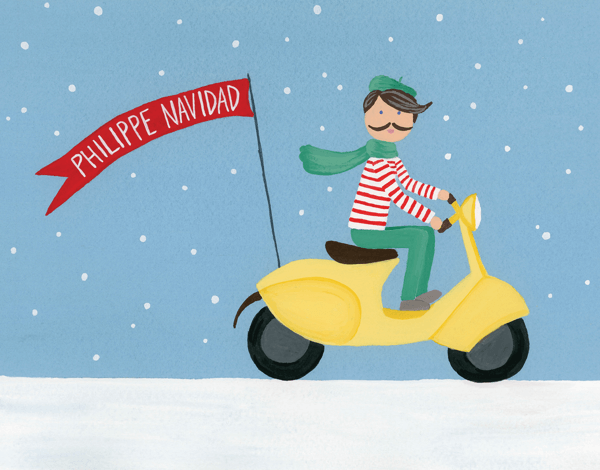 charming hand painted phillippe Navidad greeting card