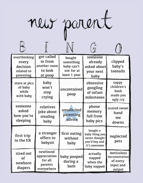 New Parent Bingo