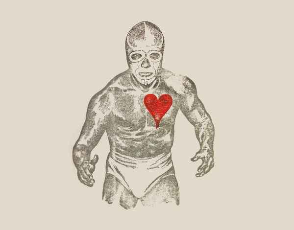 Luchador with Heart Greeting Card