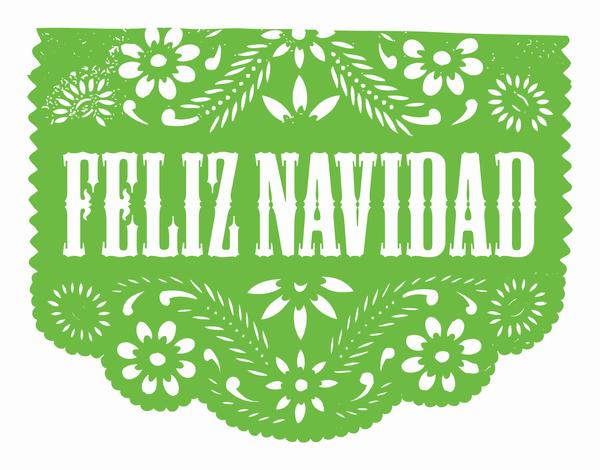 Green Cut Out Navidad Christmas Card