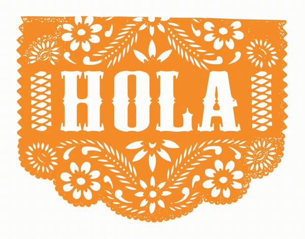 Orange Hola Patterned Card