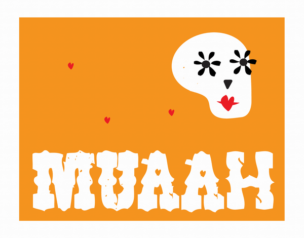 Orange Kissing Skull Valentine's Card