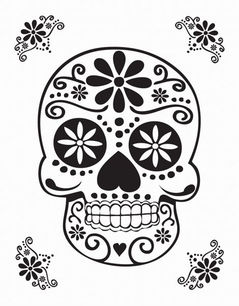 Black Decorative Skull Card