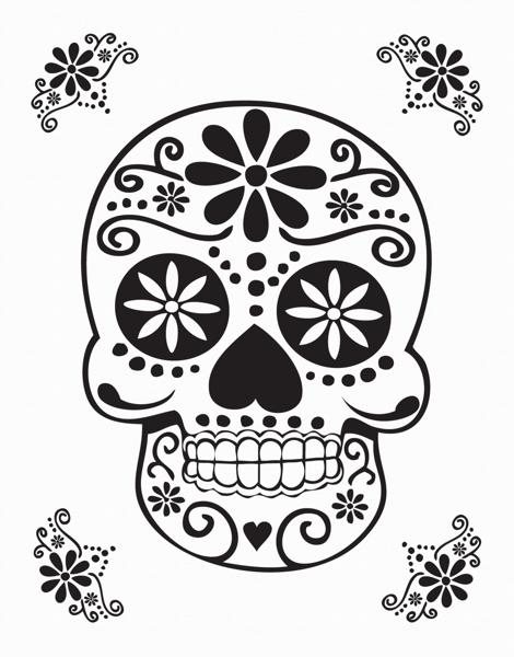 Black Decorative Skull Card
