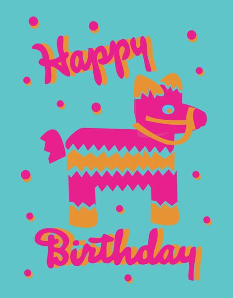 Bright Pinata Birthday Card