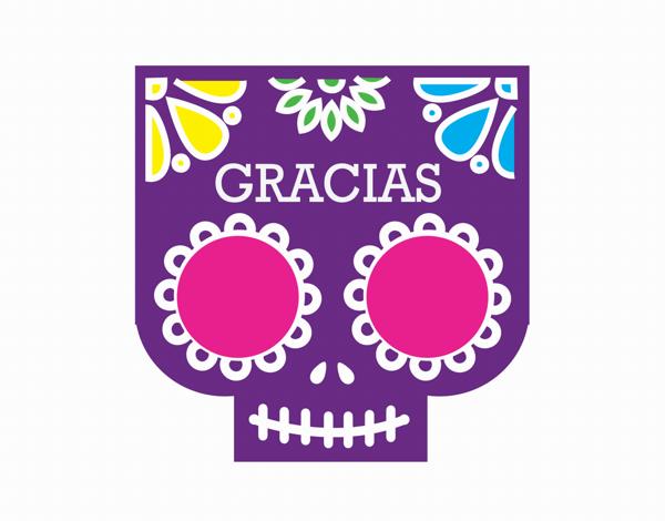 Purple Skull Gracias Thank You Card