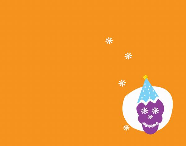 Orange Skull Party Hat Greeting Card