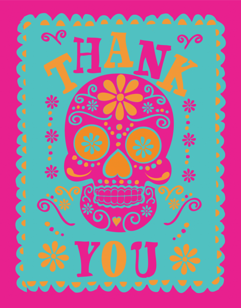 Bright Patterned Skull Thank You Card