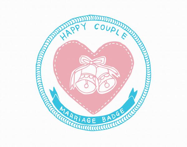 Happy Couple Marriage Badge