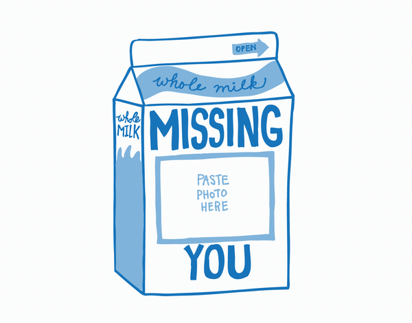 Milk Carton Missing You Card