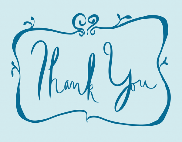 Bordered Blue Thank You Card