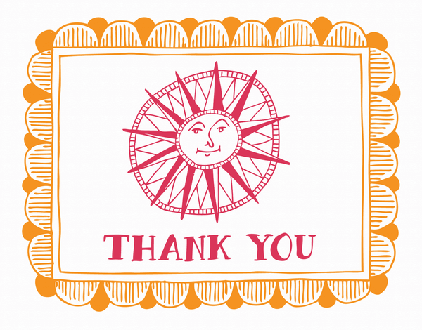 Bordered Sun Doodle Thank You Card