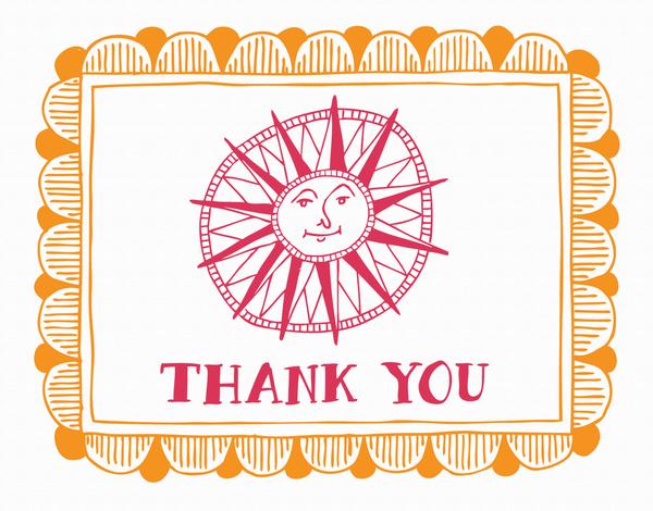 Bordered Sun Doodle Thank You Card