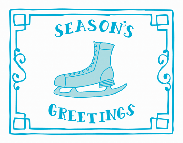 Holiday Ice Skate Card with Border