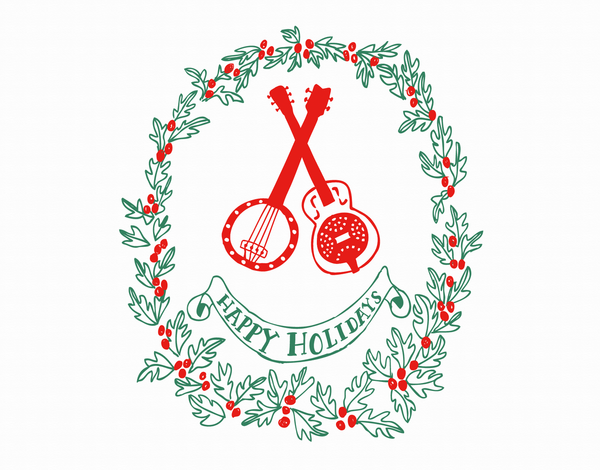 Musical Holiday Card with Wreath Border