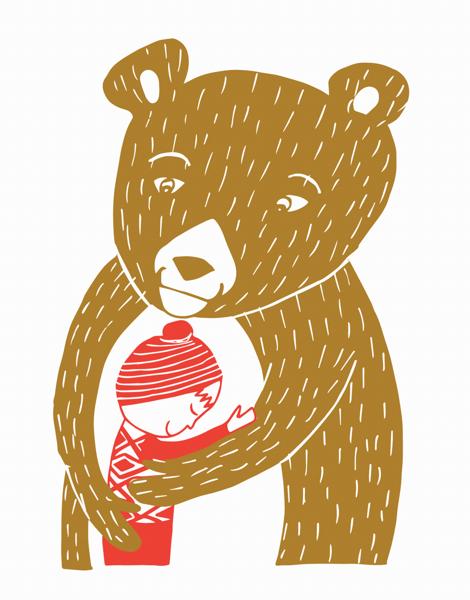Illustrated Bear Hug Hello Card