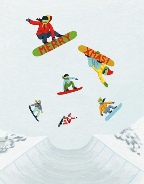 Xmas Snowboarders