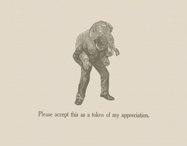 Vintage Elephant Thank You Card